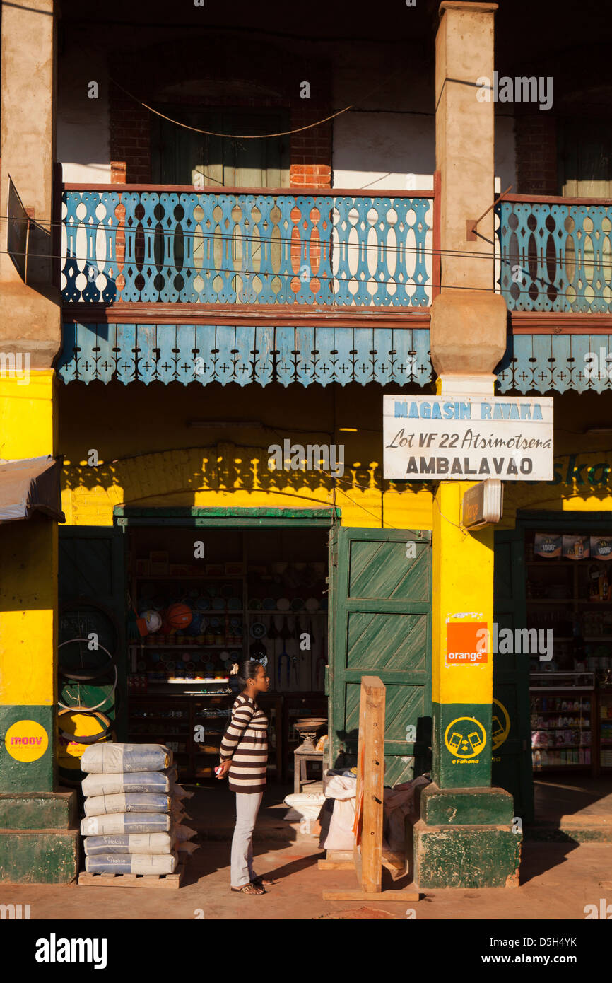 French Telecom Stock Photos Images Alamy Telma Wiring Diagram Madagascar Ambalavao Hardware Shop Painted In Colours Green And Yellow