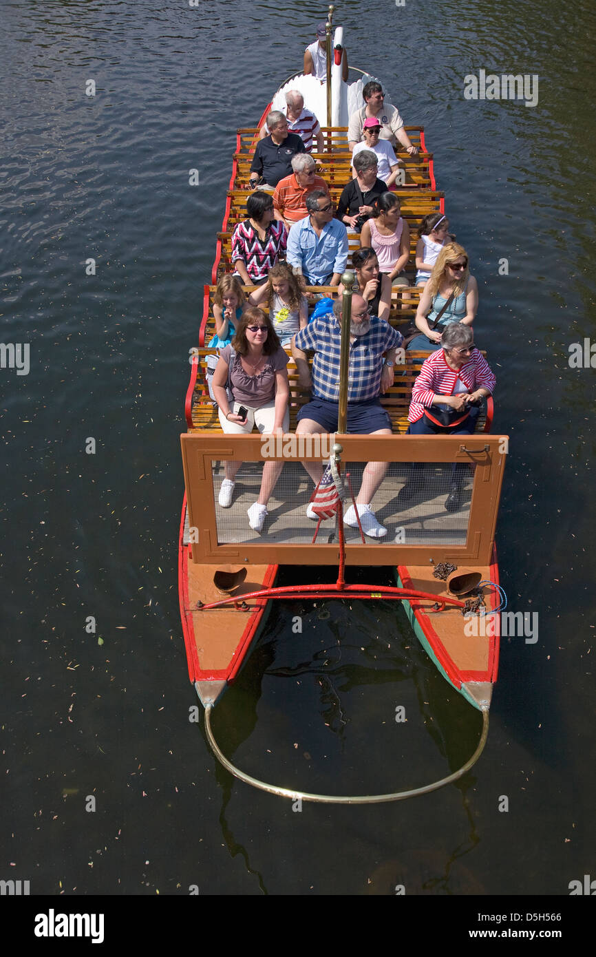 Tourists ride the Historic Swan Boats in Boston Public Gardens on a summer day, Boston, Ma - Stock Image