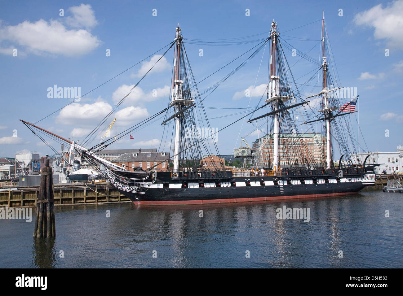 Old Ironsides, the historic USS Constitution, Charlestown, Boston, MA - Stock Image