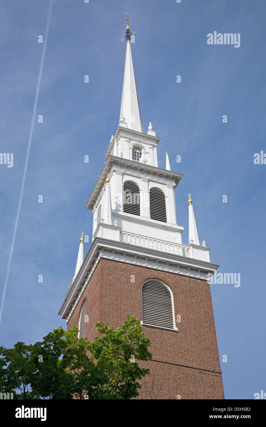 The Old North Church is officially known Christ Church in the City Boston on April 18 1775 was the site two lanters - Stock Image