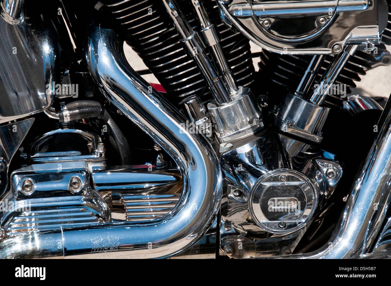 Harley-Davidson motorcycle engine detail - Stock Image