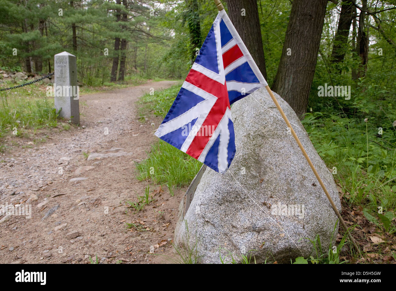 British Flag on Battle Road for fallen soldiers at Minute Man National Historic Park, Lexington/Concord, MA Stock Photo