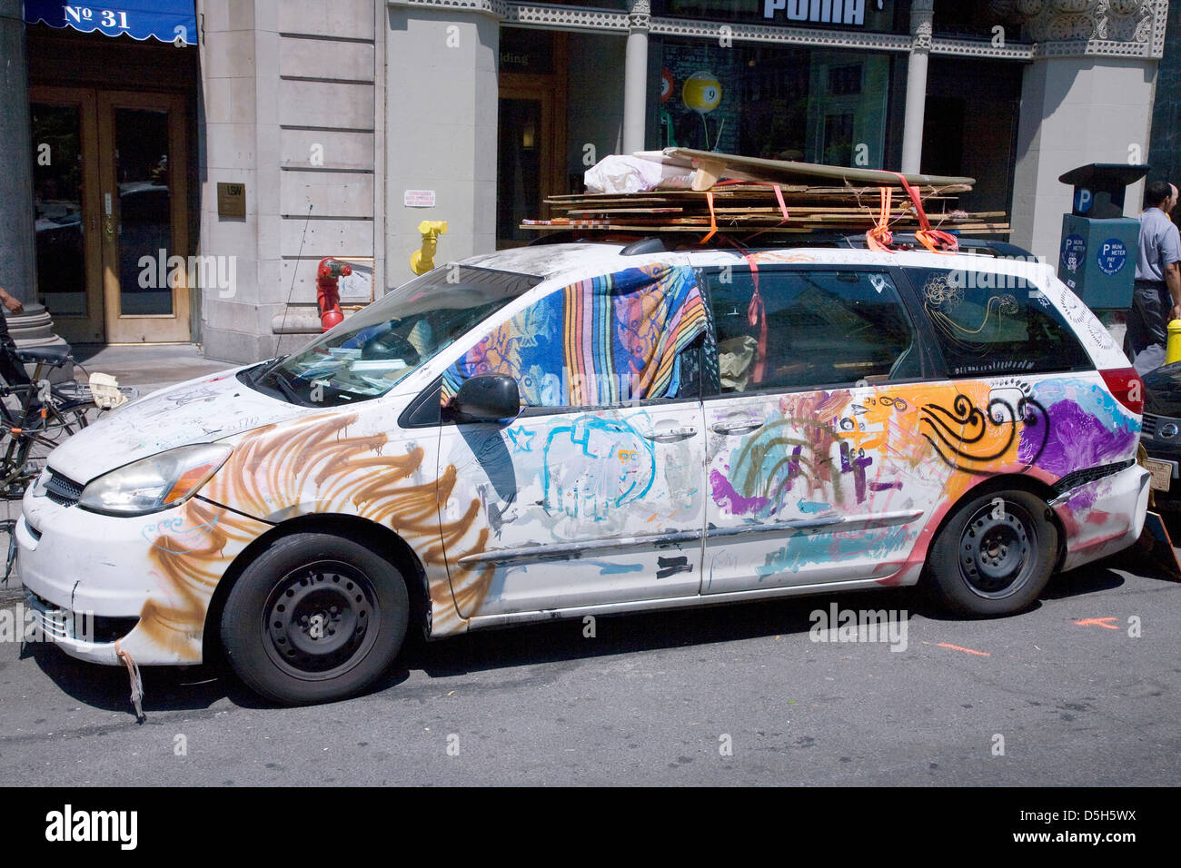 Pakistani-styled painted car in downtown New York City, New York - Stock Image