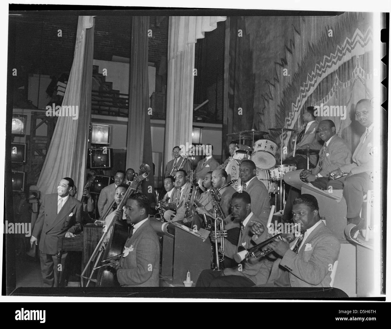 [Portrait of Duke Ellington, Ray Nance, Tricky Sam Nanton(?), Johnny Hodges(?), Ben Webster(?), Otto Toby Hardwick(e), - Stock Image