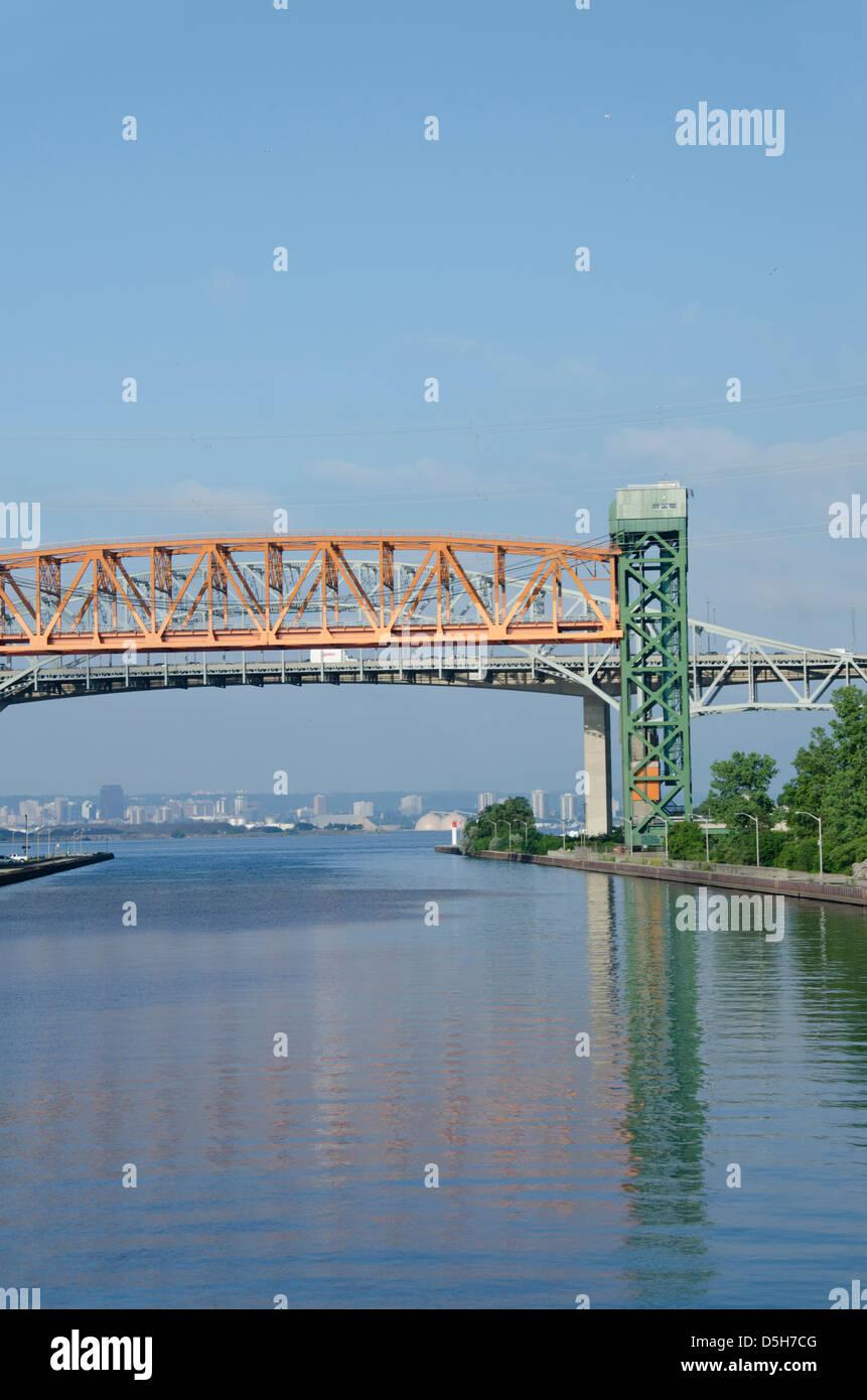 Canada, Ontario. Burlington Canal at Hamilton. Burlington Canal Lift Bridge on lake Ontario. - Stock Image
