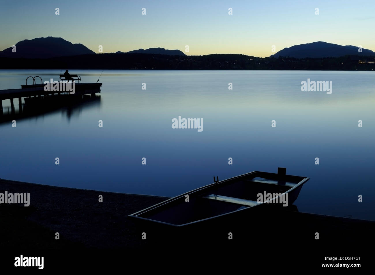 Austria / Carynthia - Blue hour at Faaker lake banks. - Stock Image