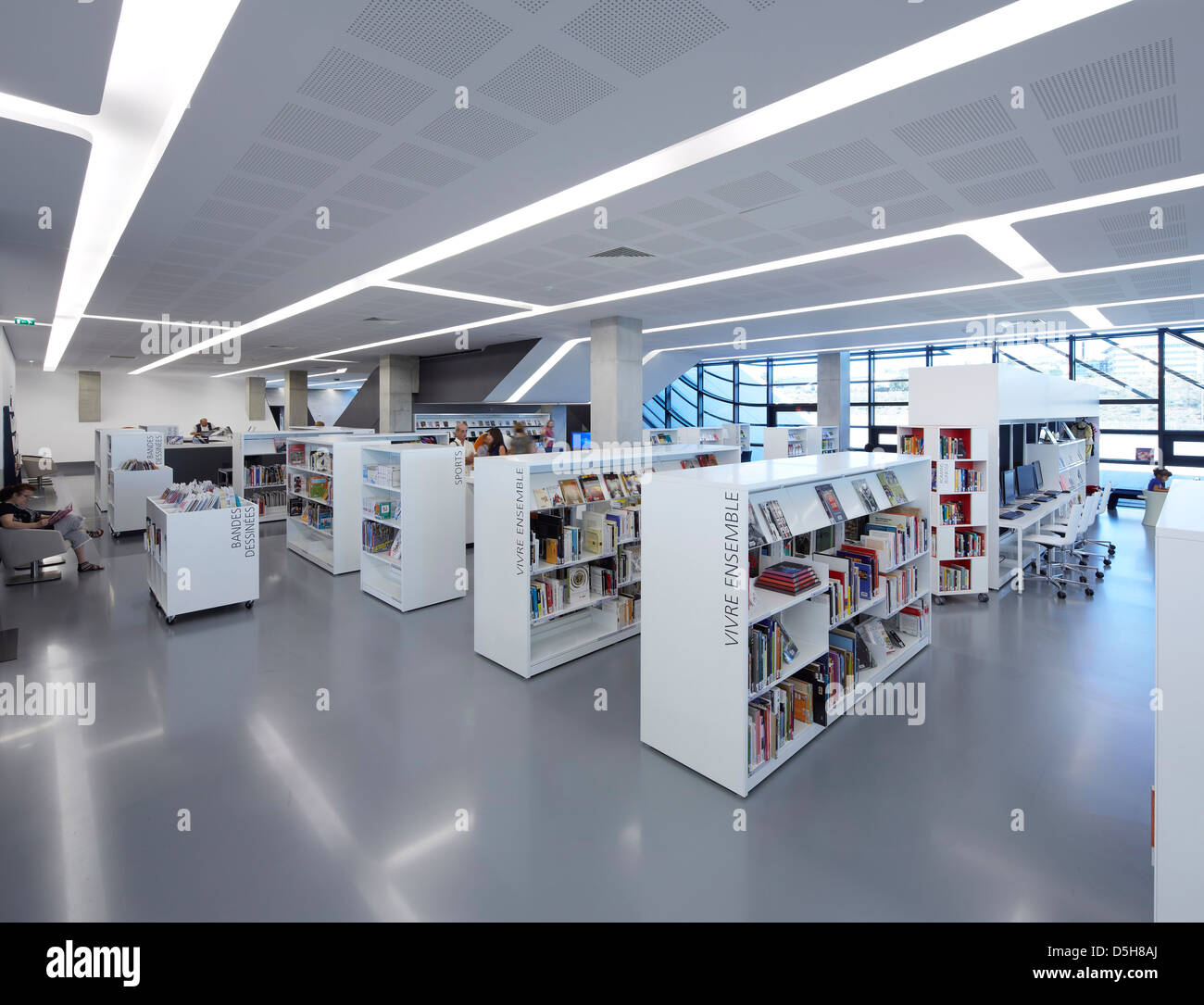 Pierresvives, Montpellier, France. Architect: Zaha Hadid Architects, 2012. Pierres Vives, general view of the library. - Stock Image