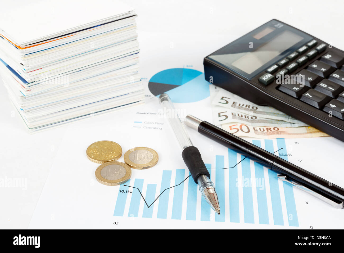 calculator, charts, pen, business cards, money, workplace businessman, business collage - Stock Image