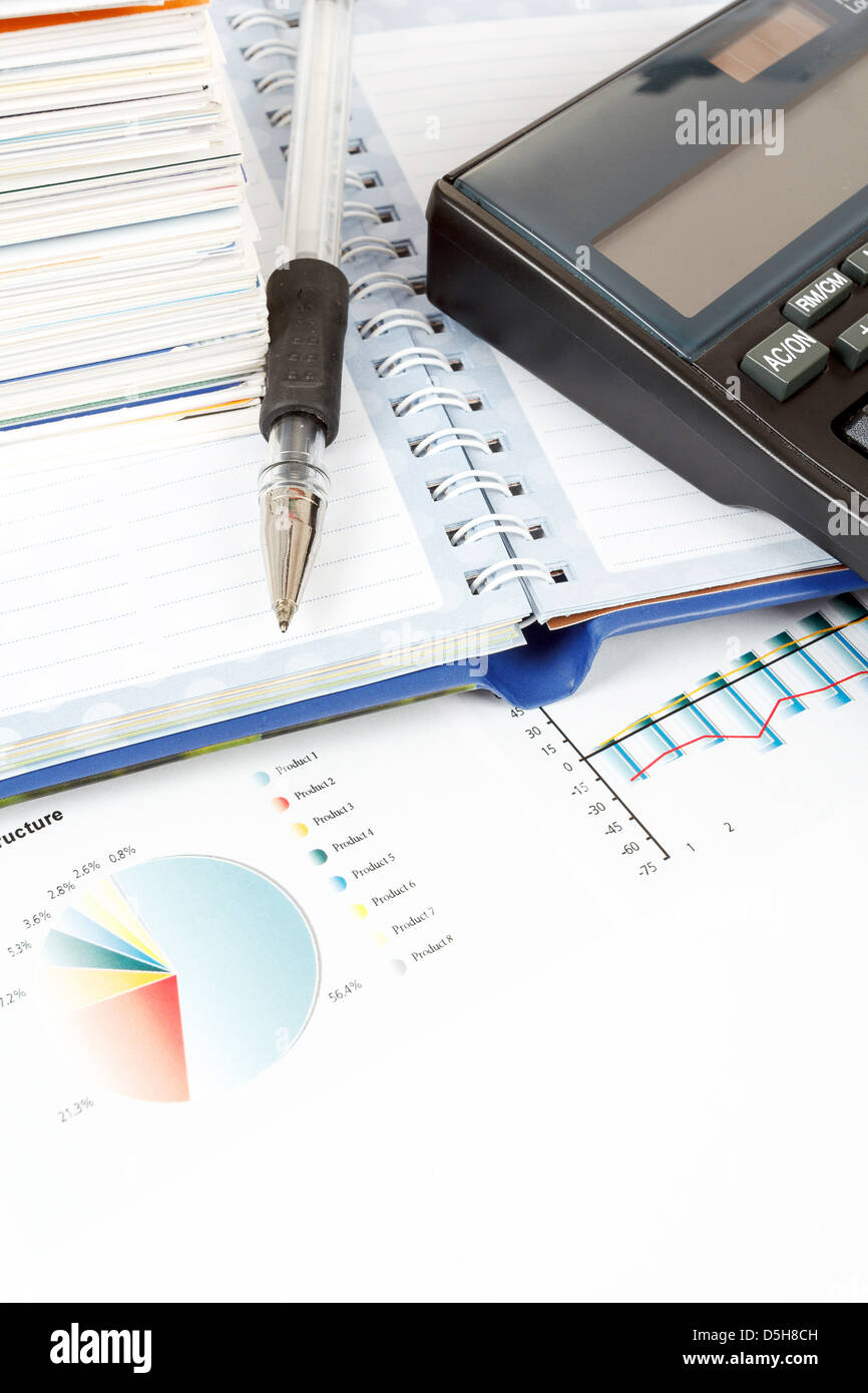 calculator, charts, pen, business cards, notes, workplace businessman, business collage - Stock Image