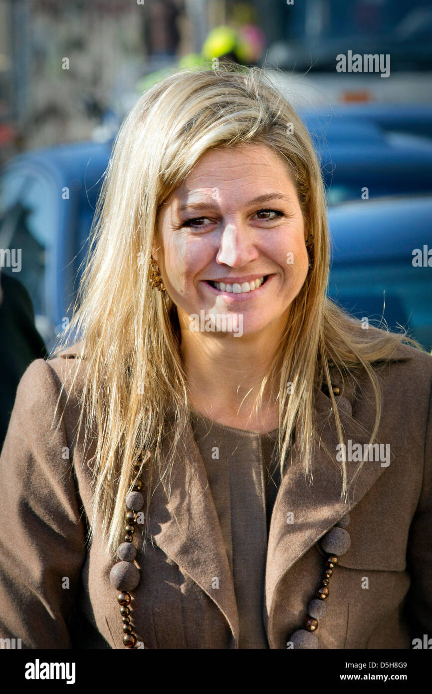 Princess Maxima of The Netherlands attends the inauguration of the first PostNL 1001 Women stamps at the University Stock Photo