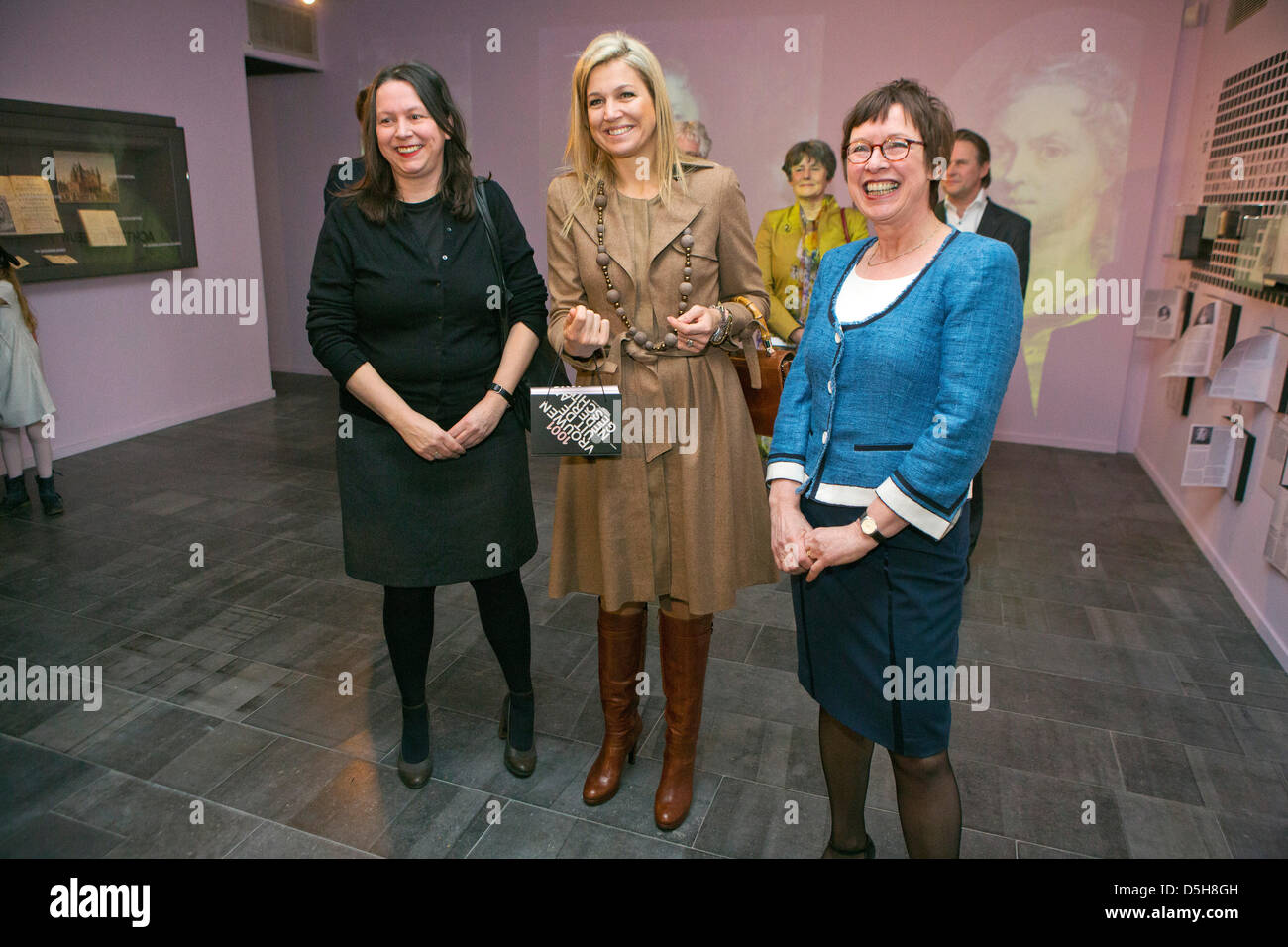 Princess Maxima of The Netherlands (C) attends the inauguration of the first PostNL 1001 Women stamps at the University Stock Photo