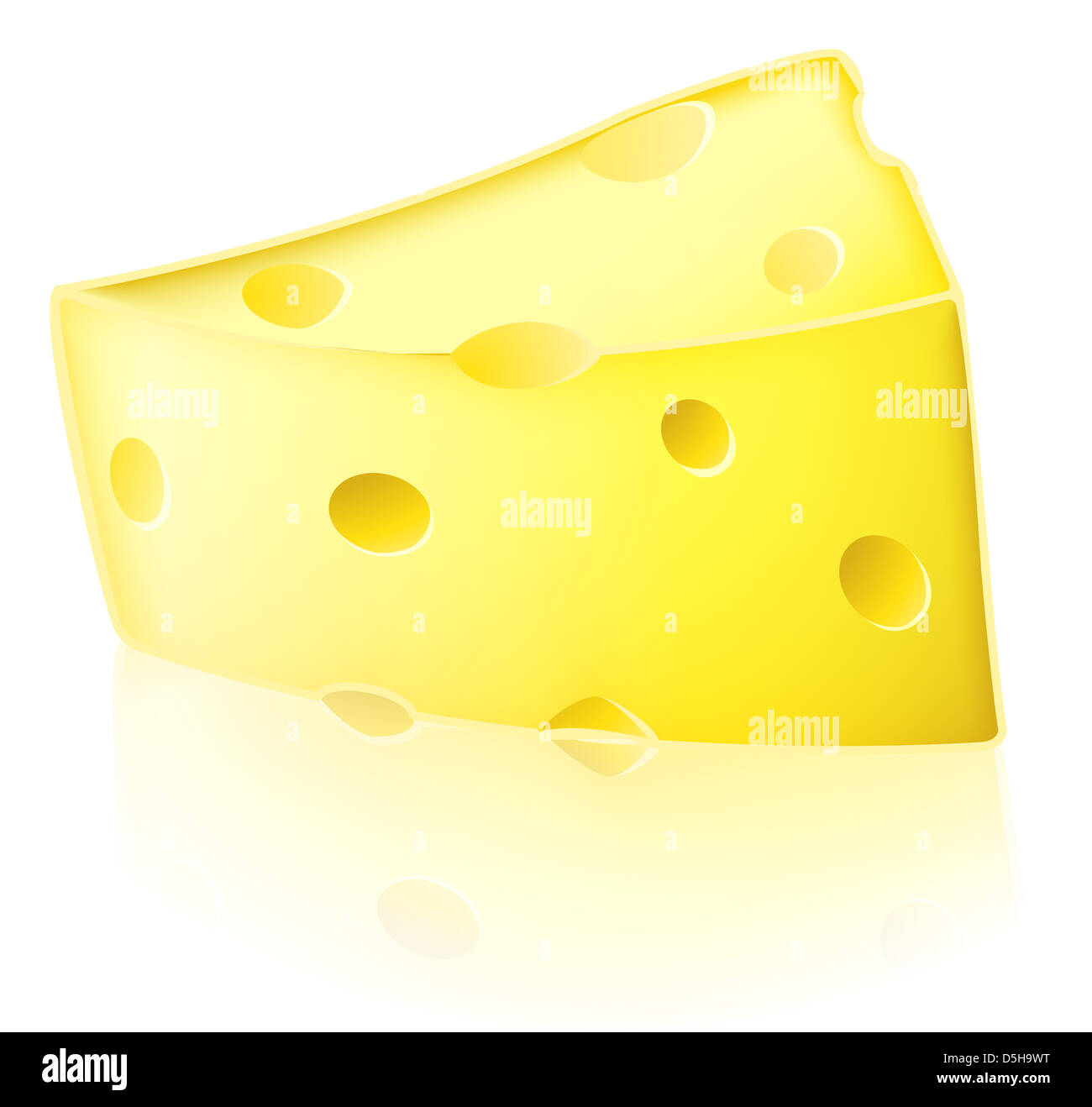 Illustration Of A Slice Of Cartoon Swiss Type Yellow Cheese With