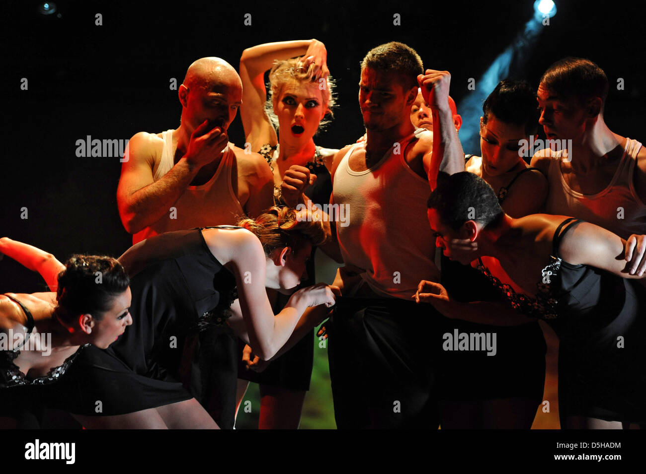 Artistes perform during the premiere of the show '6 & 7: The Art of Dance & Artistic' in Hamburg, - Stock Image