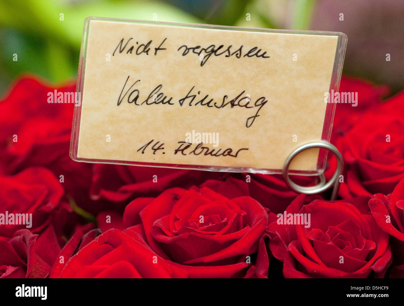 illustration a card reads dont forget valentines day at a florists in frankfurt oder germany 10 february 2010 valentines day is celebrated on 14