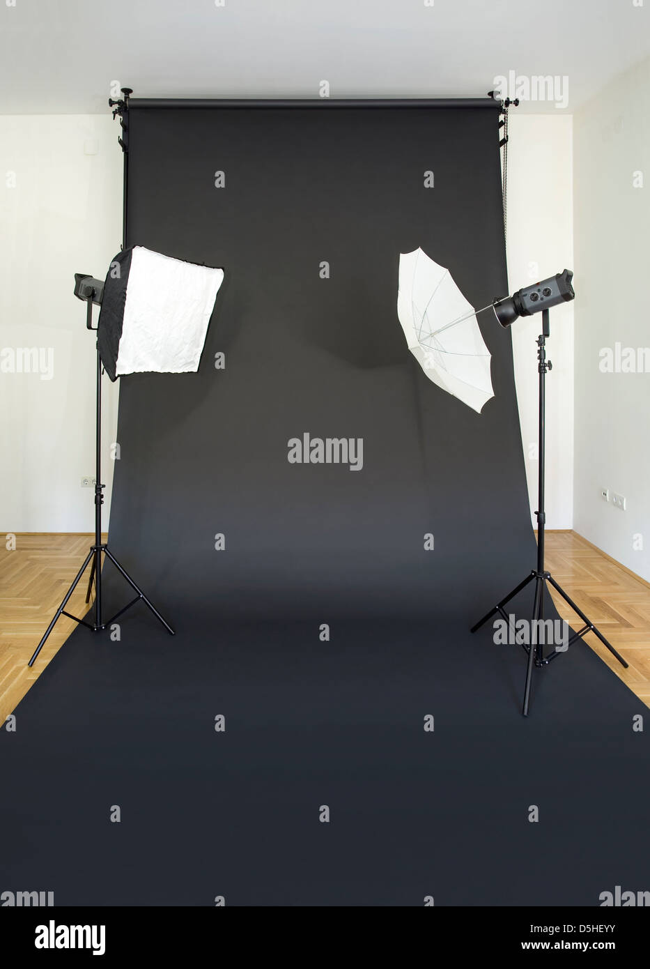Empty Photo Studio with Lights and Black Backdrop - Stock Image