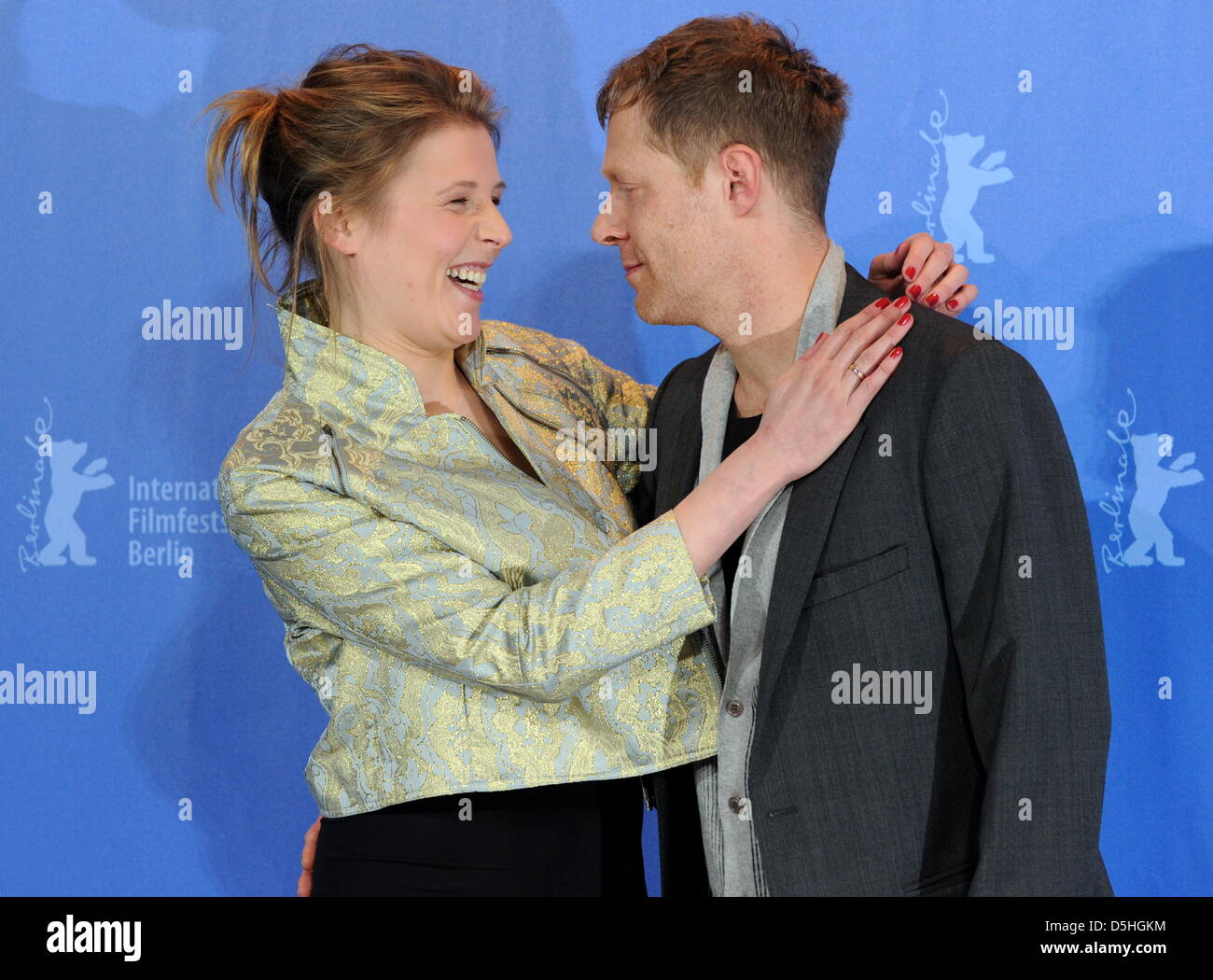 Austrian actor Andreas Lust (R) and Austrian actress Franziska Weisz (L) pose during the photo call for the film - Stock Image