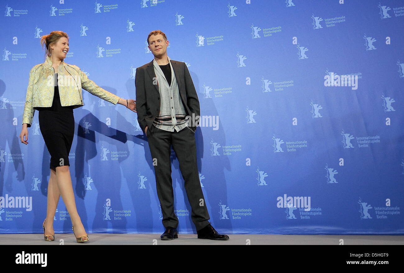 Austrian actors Franziska Weisz and Andreas Lust attend the photocall of the movie 'The Robber' ('The - Stock Image
