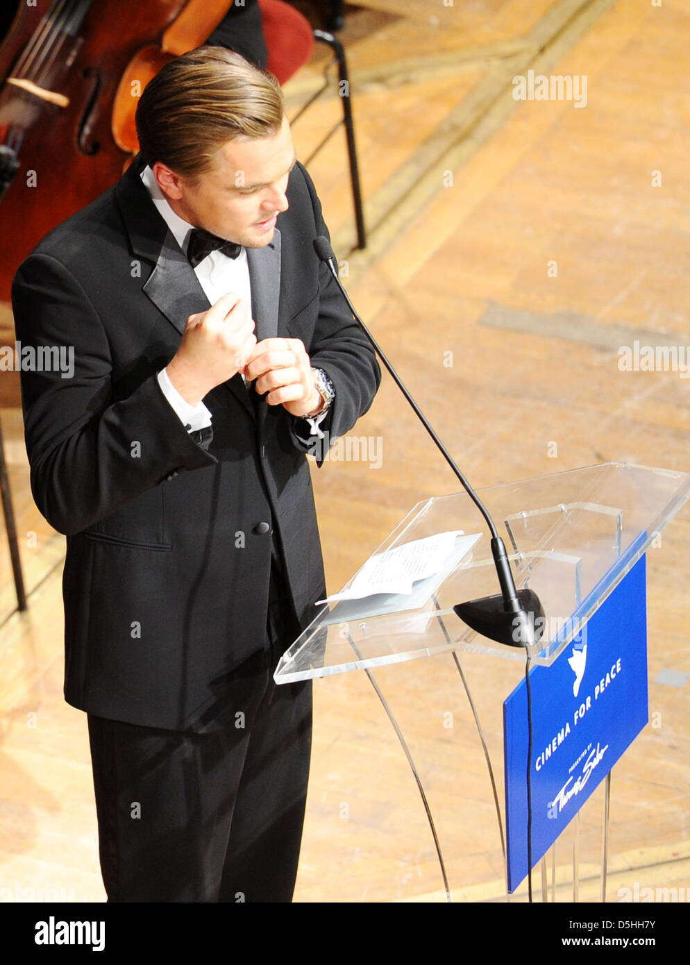 US actor Leonardo DiCaprio attends the Cinema for Peace charity gala in Berlin, Germany, Monday, 15 February 2010. - Stock Image