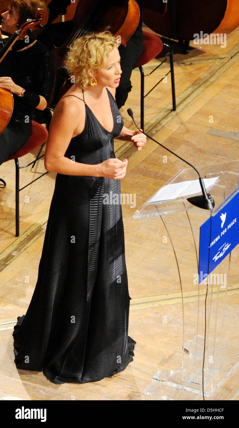 German actress Katja Riemann attends the Cinema for Peace charity gala in Berlin, Germany, Monday, 15 February 2010. - Stock Image