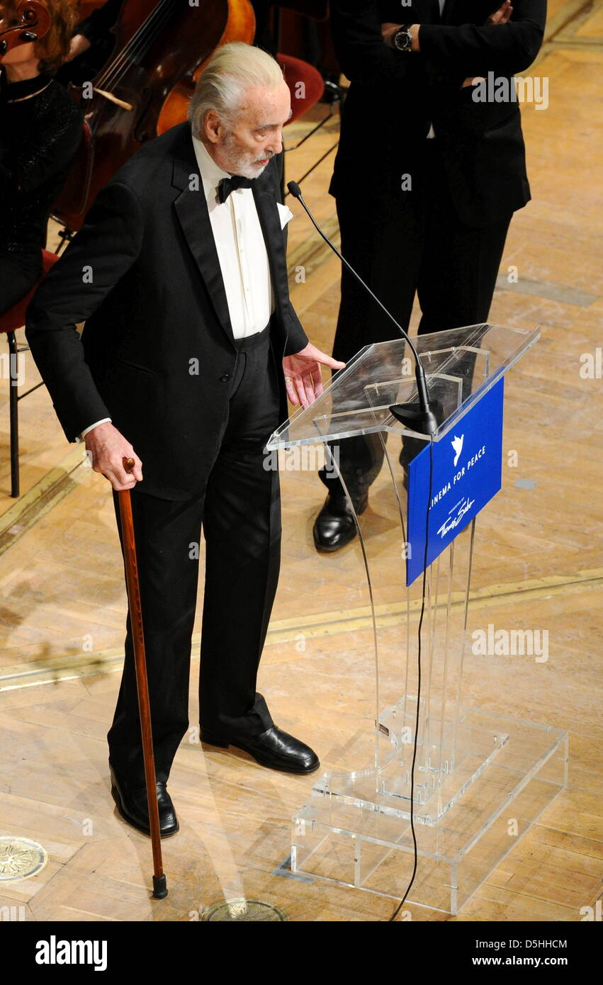 British actor Christopher Lee attends the Cinema for Peace charity gala in Berlin, Germany, Monday, 15 February - Stock Image