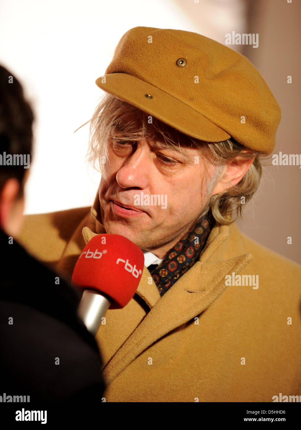 Musician Bob Geldorf arrives for the Cinema for Peace charity gala in Berlin, Germany, Monday, 15 February 2010. - Stock Image