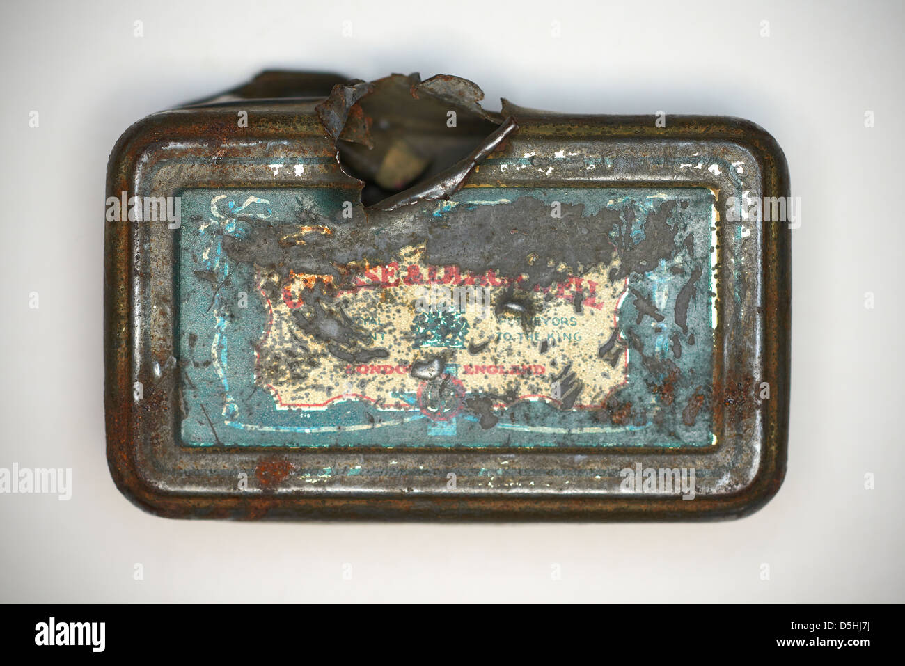 First world war tin World War 1 one Tin with bullet hole In grandfathers rucksack, saved his life. - Stock Image