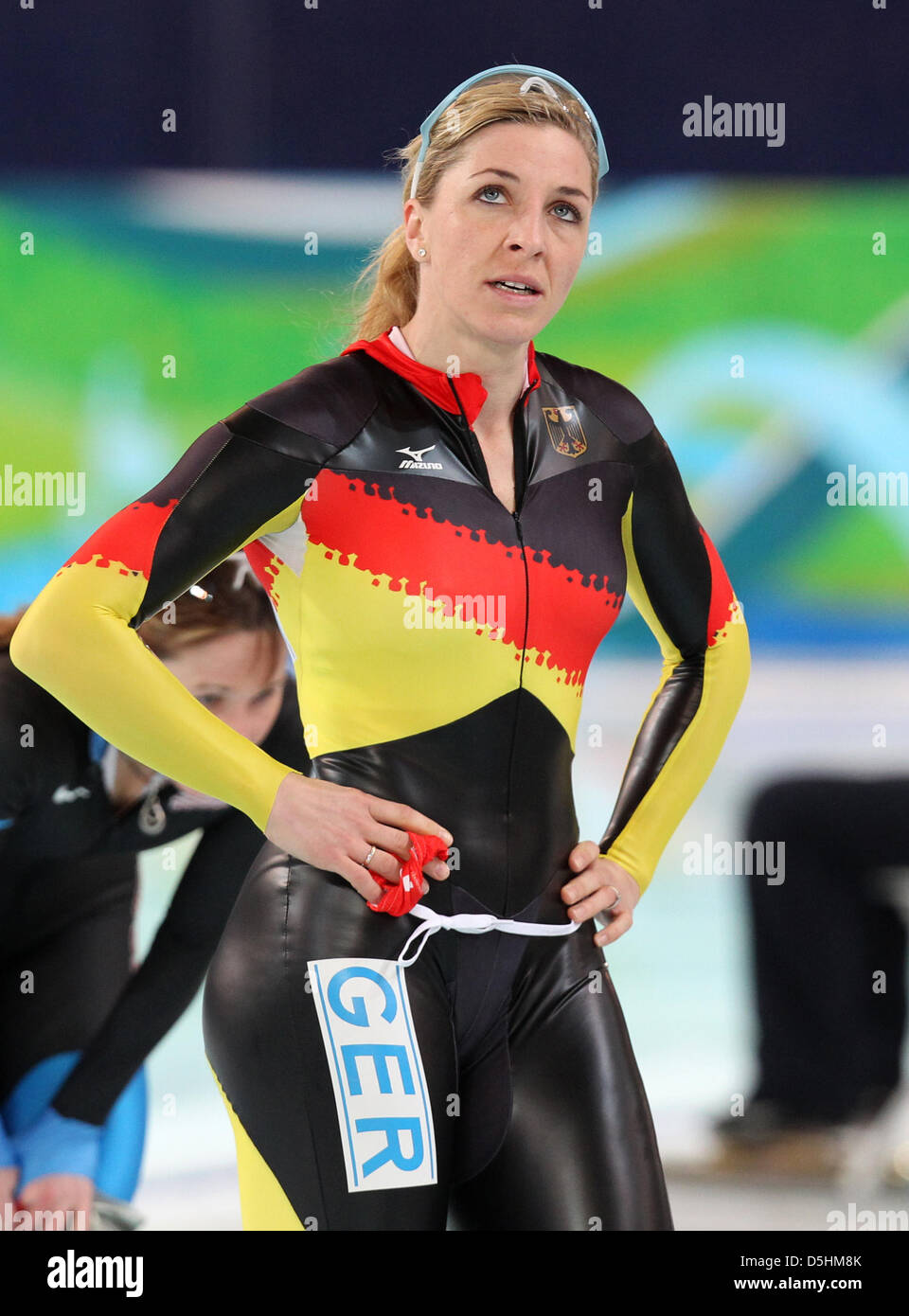 Anni Friesinger-Postma of Germany reacts after the Women's ...