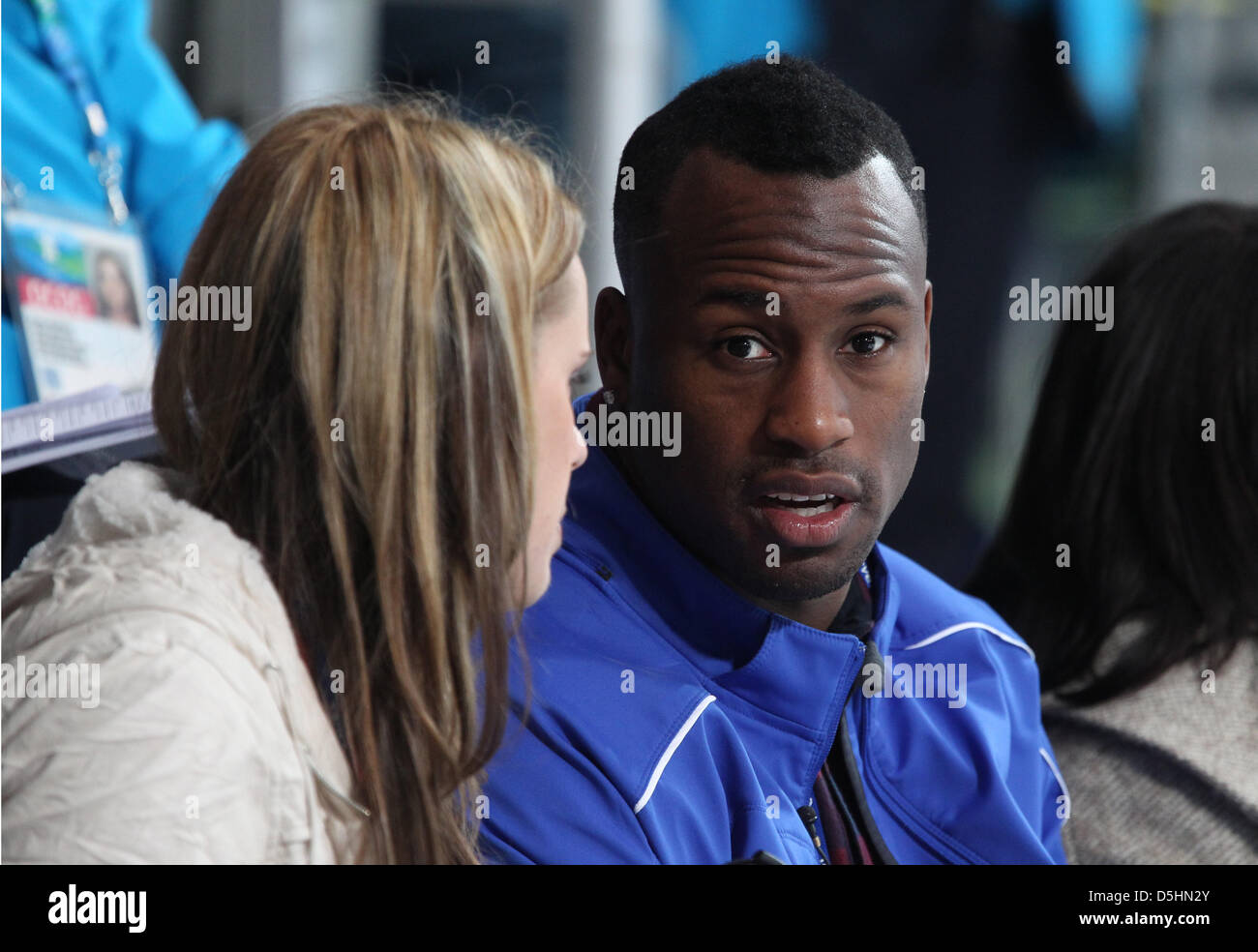 American football player Vernon Davis of the San Francisco 49ers of the NFL is seen on the stand during the Round - Stock Image