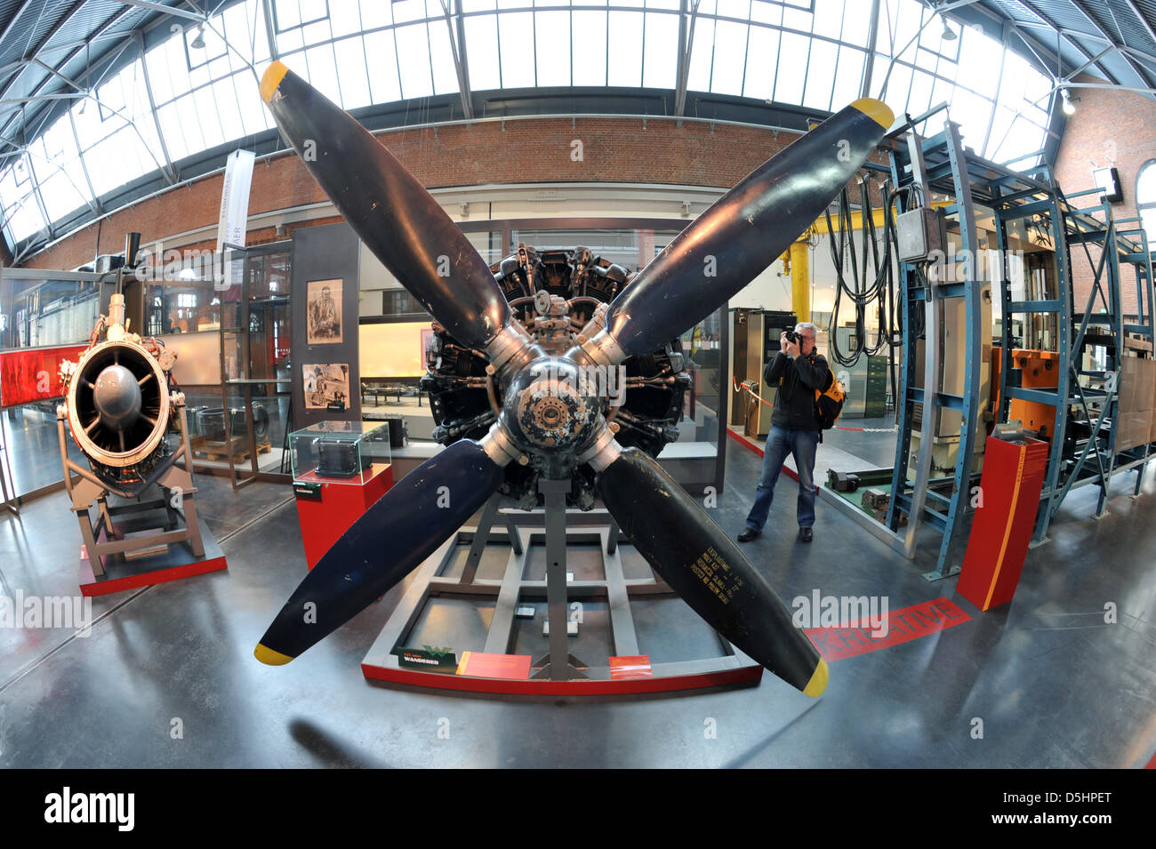 Parts of an aeroplane engine can be seen in a special exhibition in