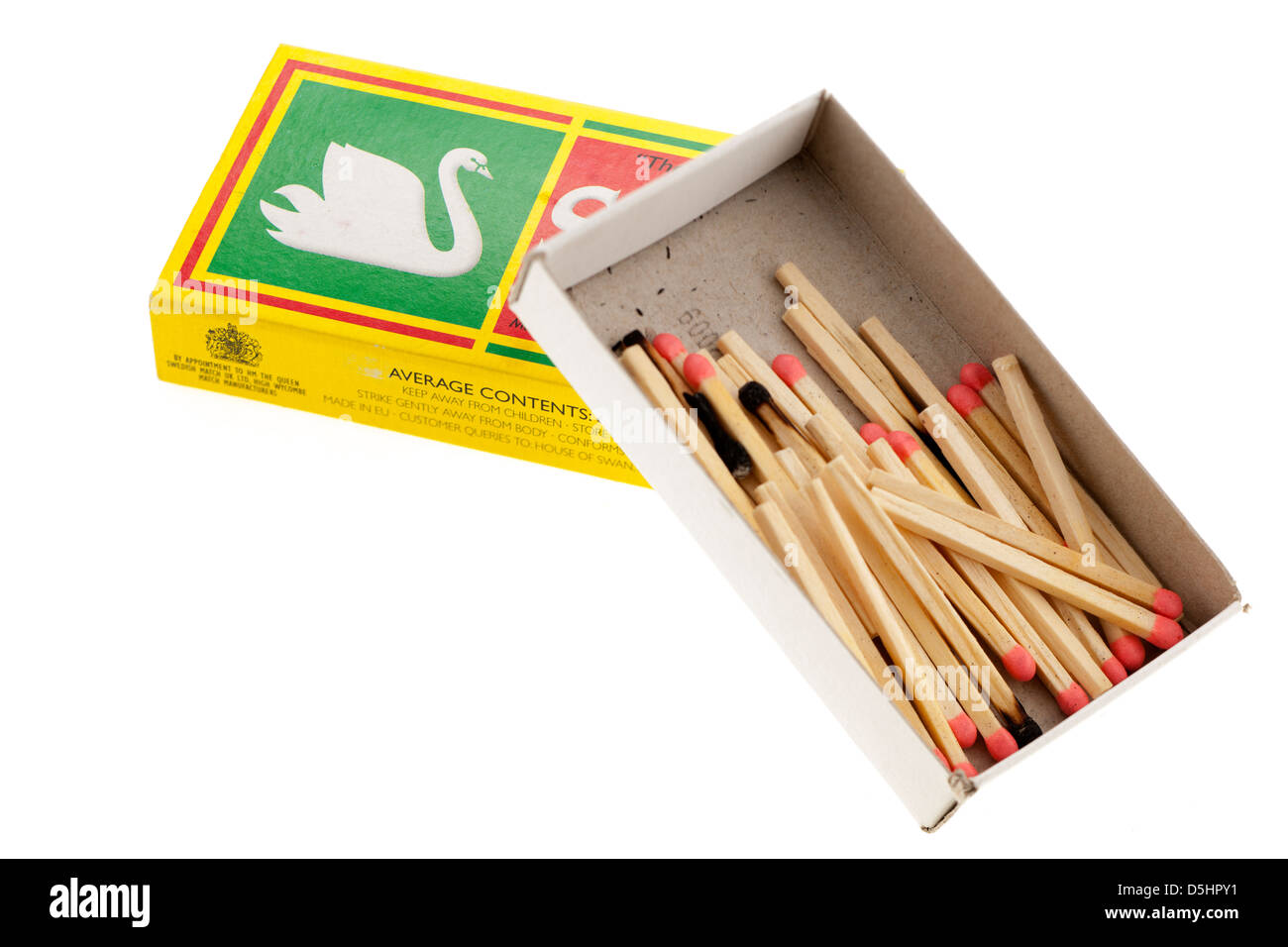 Box of used matches - Stock Image