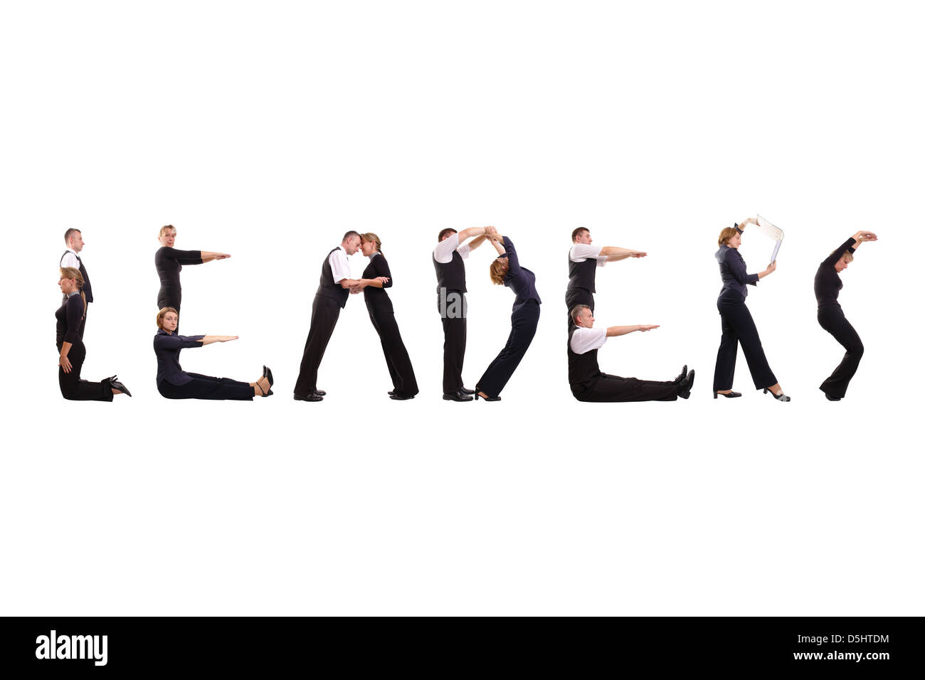 Group of young business people standing over white to form Leaders word - Stock Image