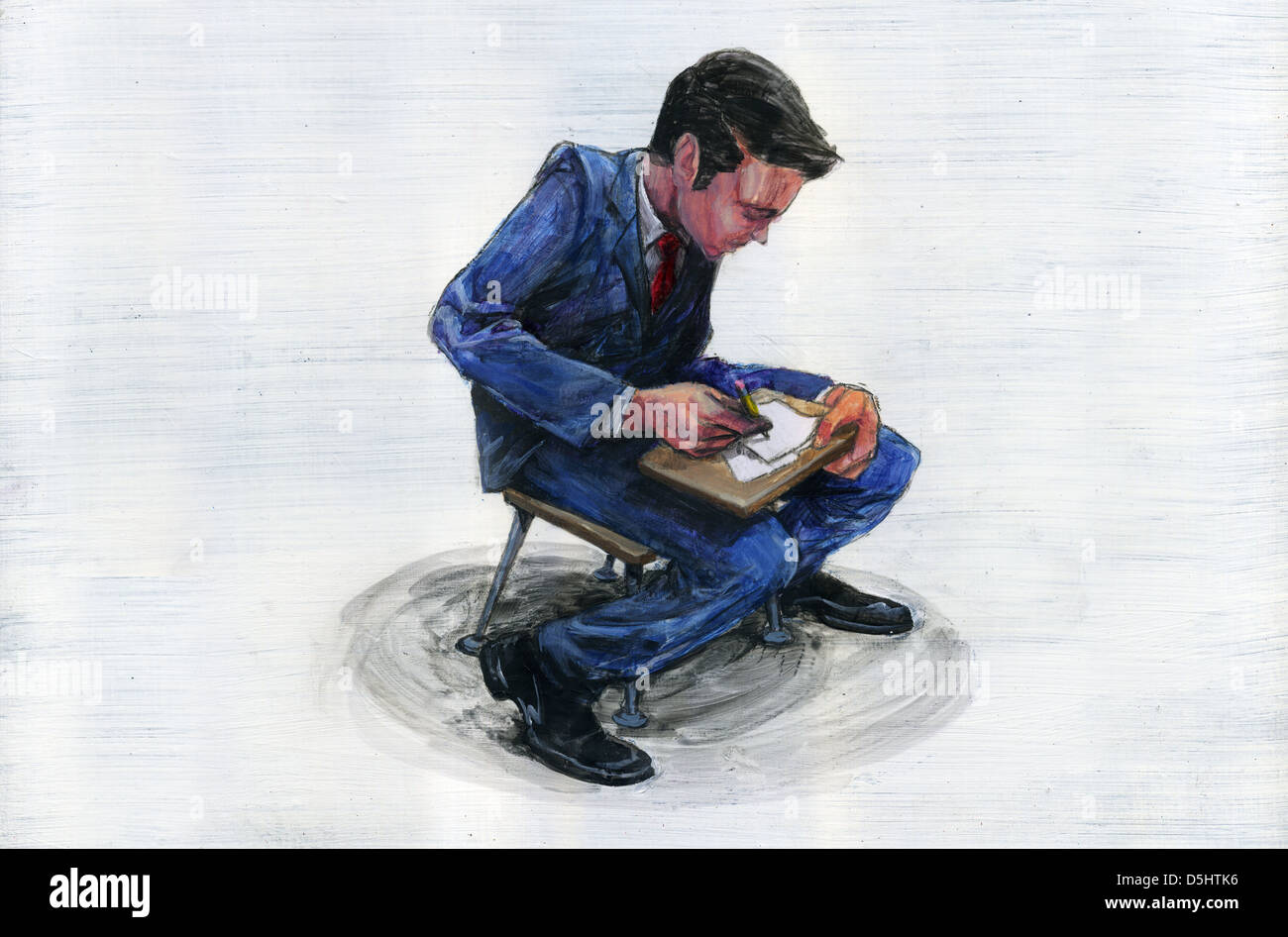 Illustration of young businessman undergoing training Stock Photo