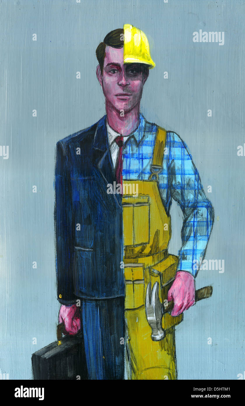 Illustrative image of young man in dual occupation representing changing careers Stock Photo