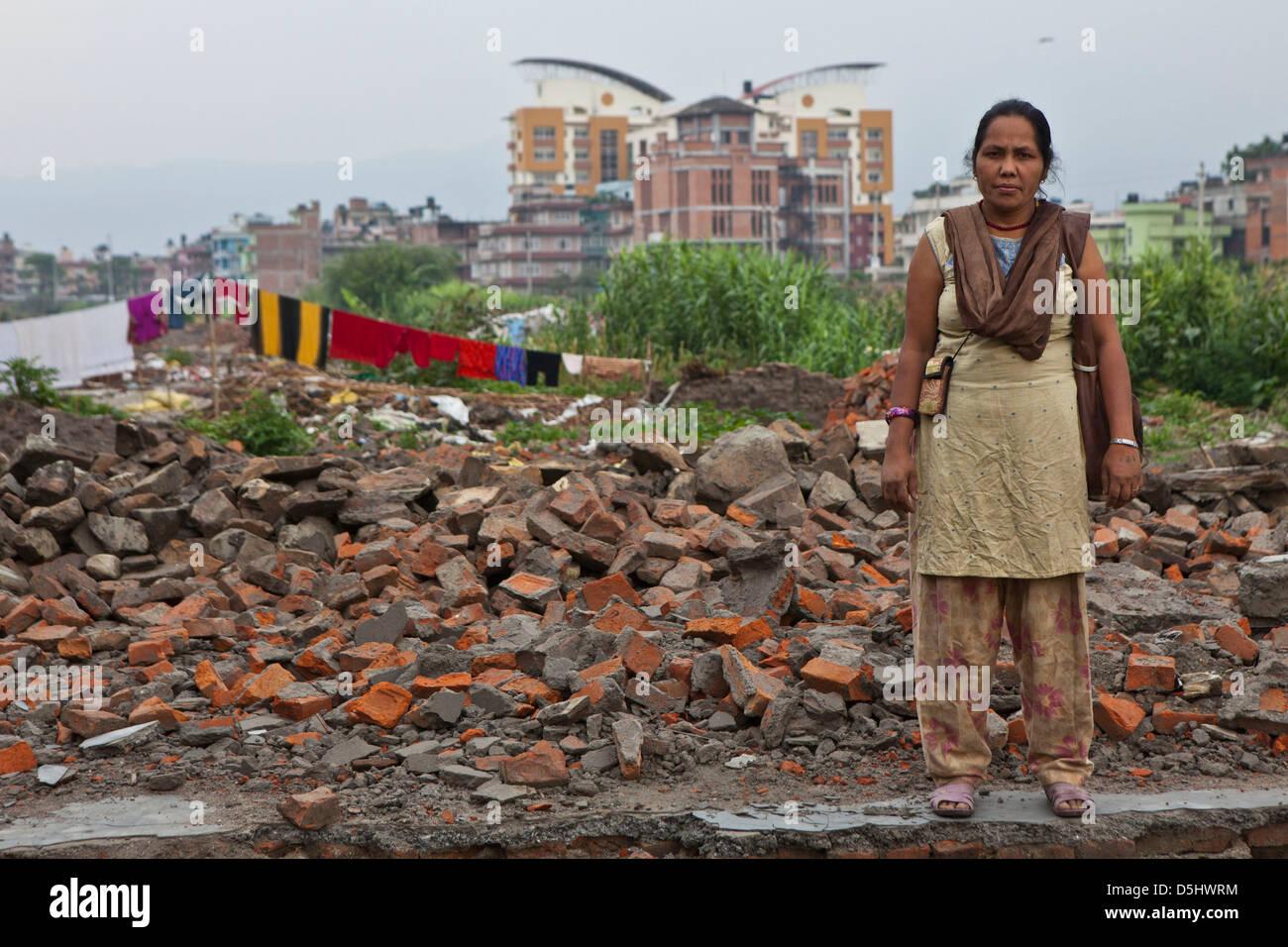 United Nations Park, in Paurakhi Basti, Kathmandu, Nepal. Once a slum housing many but demolished by government - Stock Image