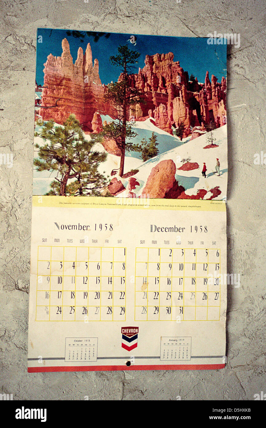 Calendario 1958.Original 1958 Calendar Hanging On Wall Of Abandoned Home United