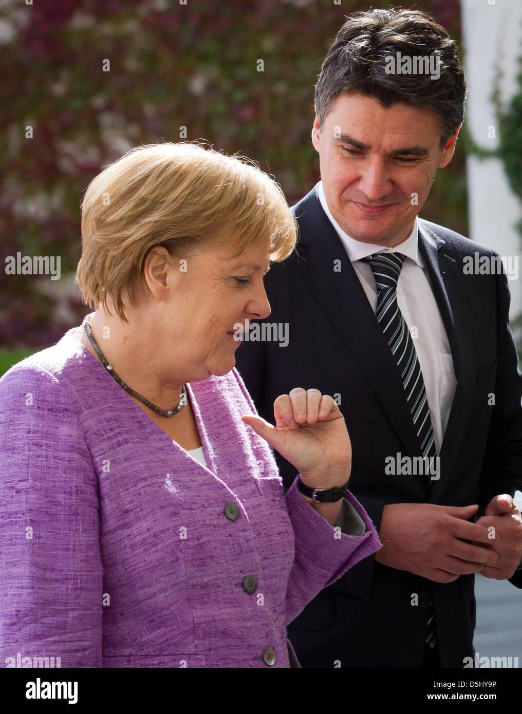 German Chancellor Angela Merkel (CDU) welcomes Croatian Prime Minister Zoran Milanovic at the Federal Chancellery - Stock Image