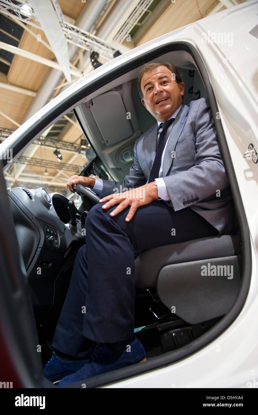 Galician Minister of Economics Javier Guerra sits in a Citroen Berlingo Electrique ,which is produced in Spain, Stock Photo