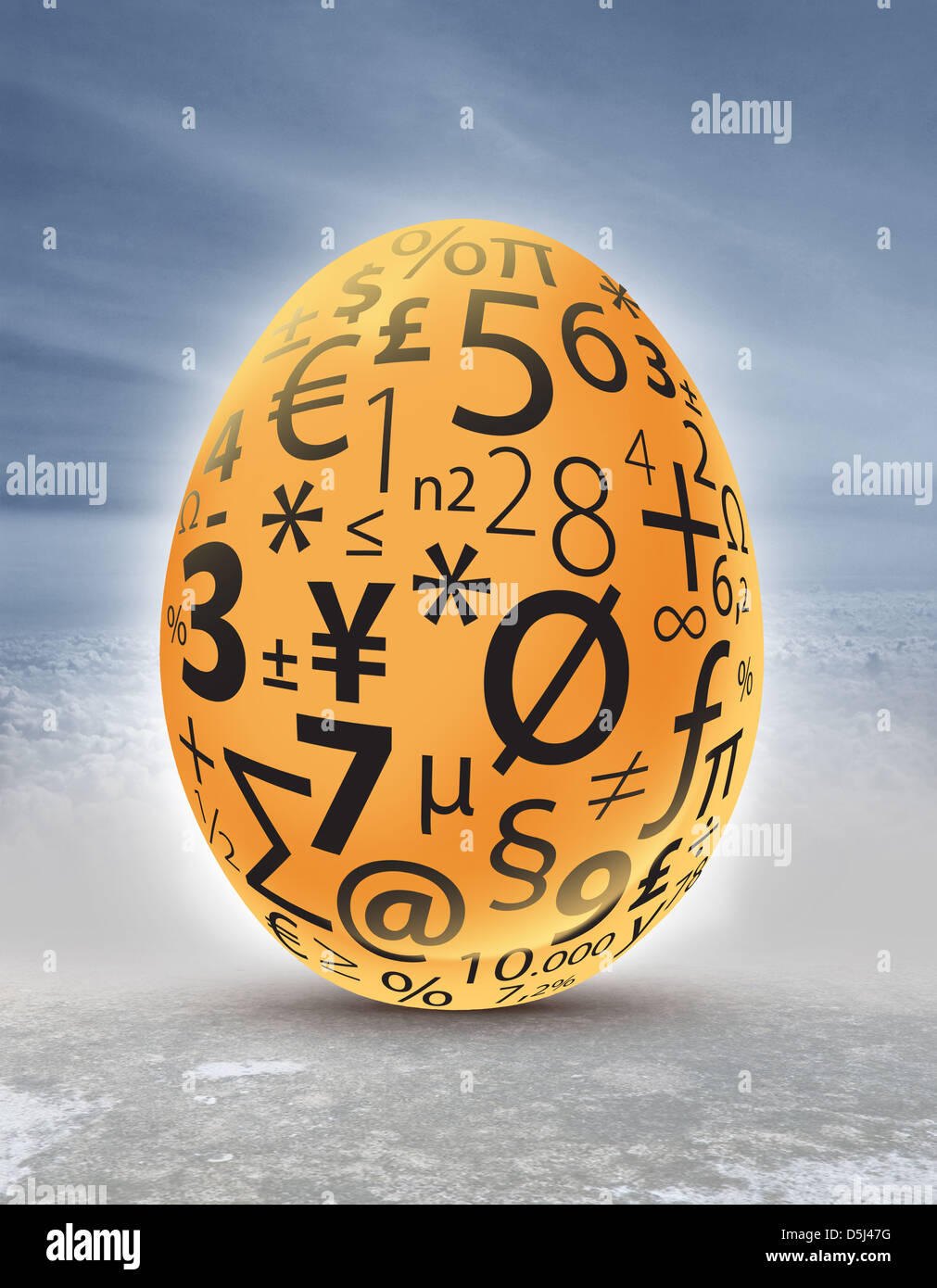 Illustrative image of golden egg with currency and mathematical symbols representing investment and profit - Stock Image