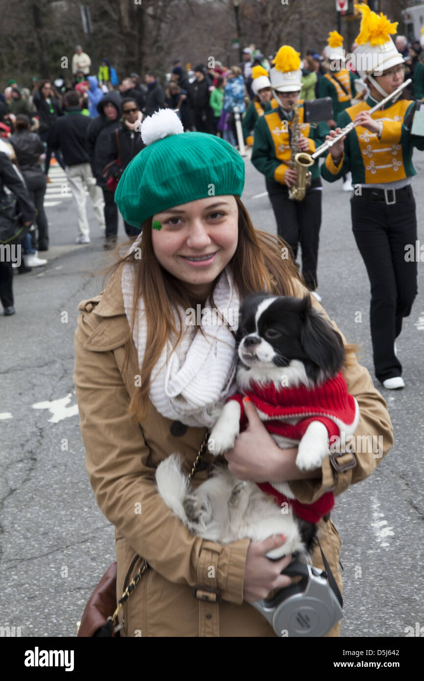 The annual Irish Parade in Park Slope, Brooklyn, NY this year was celebrated on Saint Patrick's Day, March 17th. - Stock Image