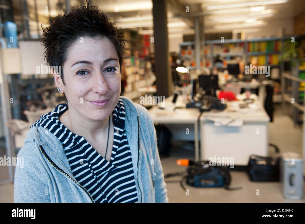 TV presenter Dunja Hayali works in the editorial office of the Stock