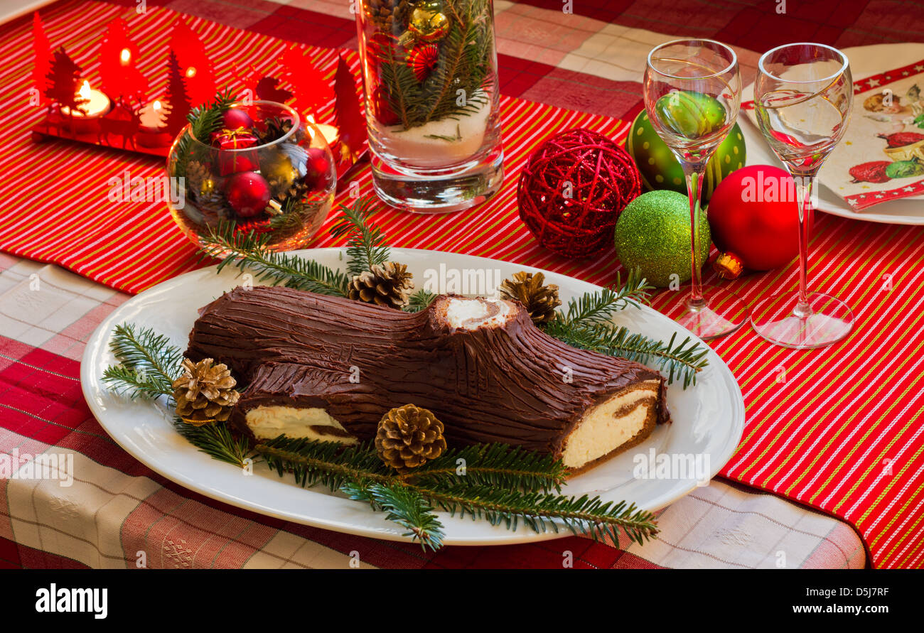Traditional French Christmas Table with Christmas yule log cake with ...
