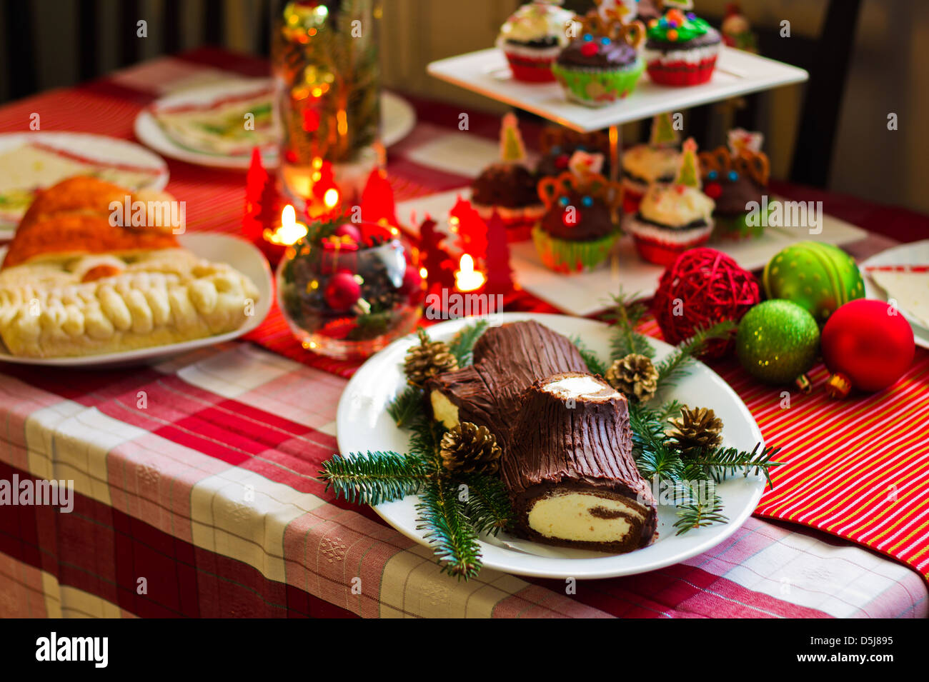 Traditional French Christmas Table With Christmas Yule Log Cake With