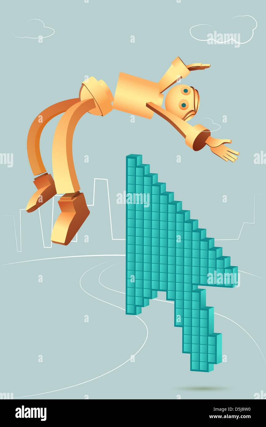 Illustrative image of arrow picking robotic businessman - Stock Image