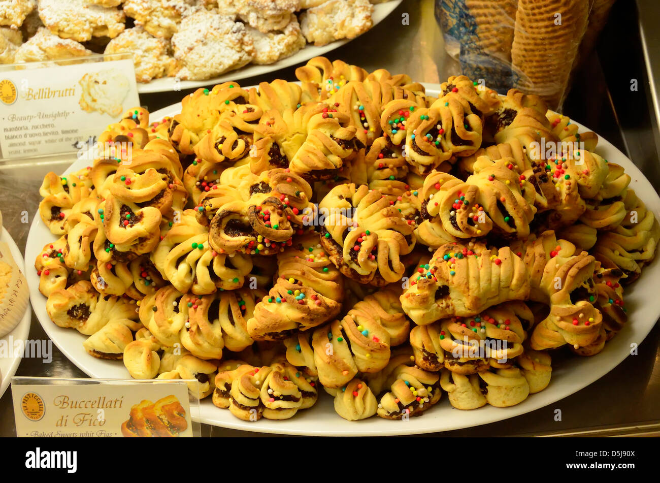 Sweets in a bakery in the historic hilltop village of Erice, Italy. - Stock Image