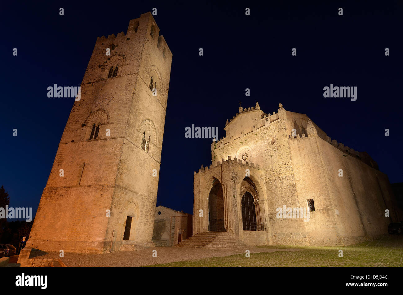 Cathedral at night, Erice, Italy. - Stock Image