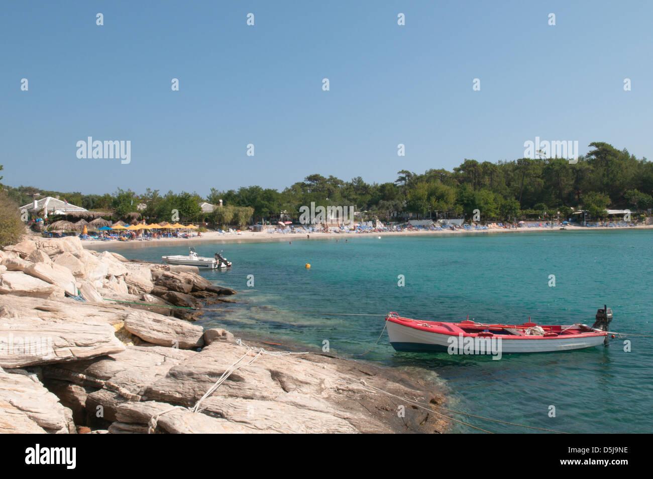 Thassos Greece Greek island September The west beach at Alyki or Aliki Stock Photo