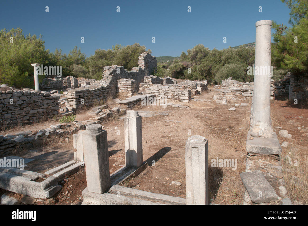 Thassos Greece Greek island September Ruins of two early Christian basilicas on the peninsula at Alyki or Aliki Stock Photo