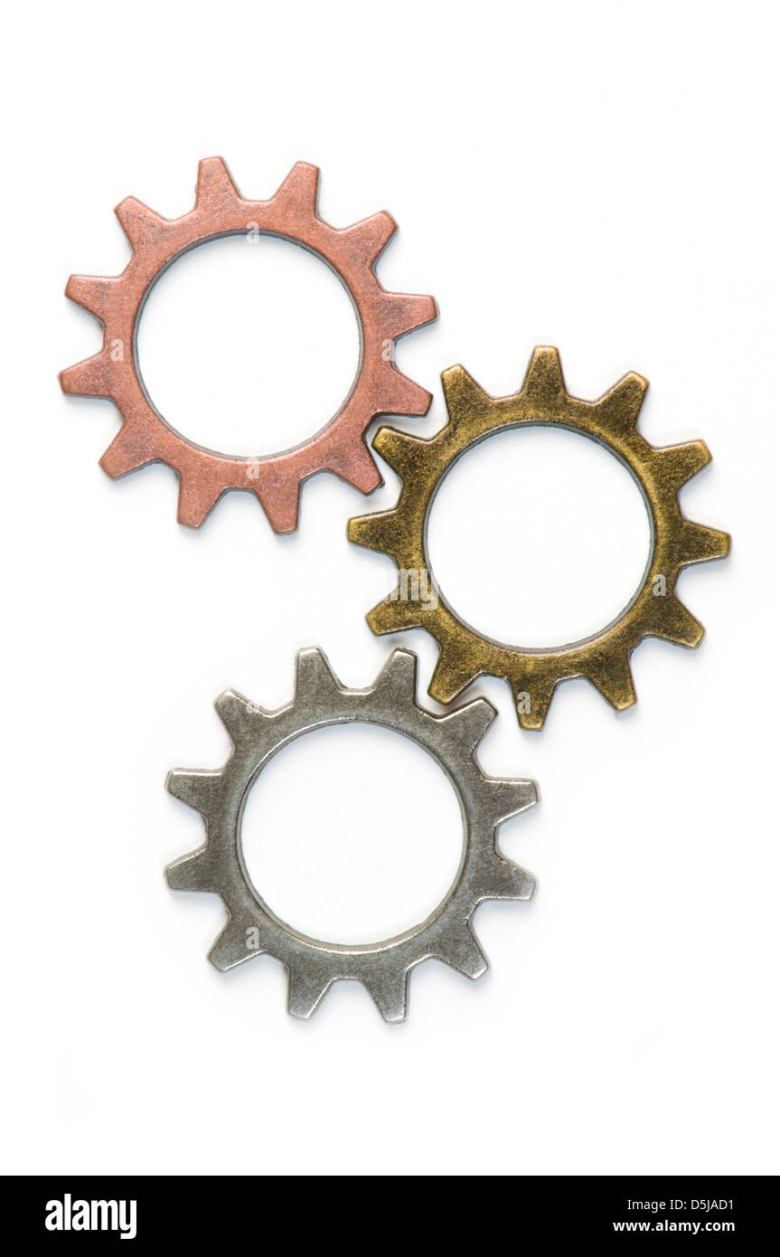 Different gears on white - Stock Image