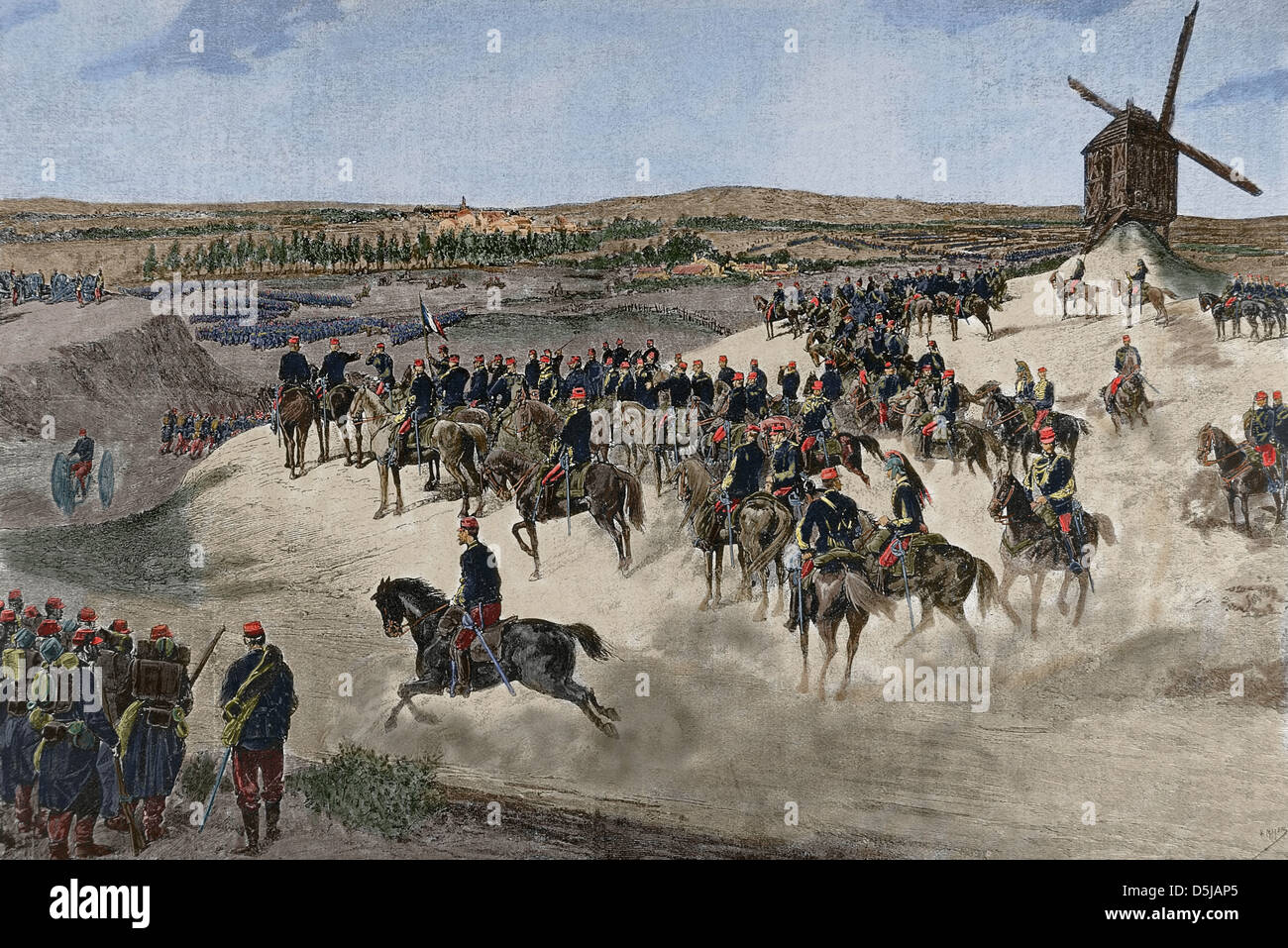 Franco-Prussian War (1870-1871). The Northern army under the leadership of French General Jean-Baptiste Billot (1828 - Stock Image