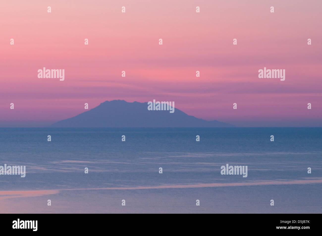 View from Golden beach eastward towards the island of Samothrace Dawn sunrise Stock Photo